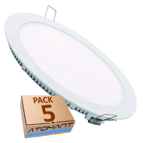 Downlight paneles LED pack 5 unidades