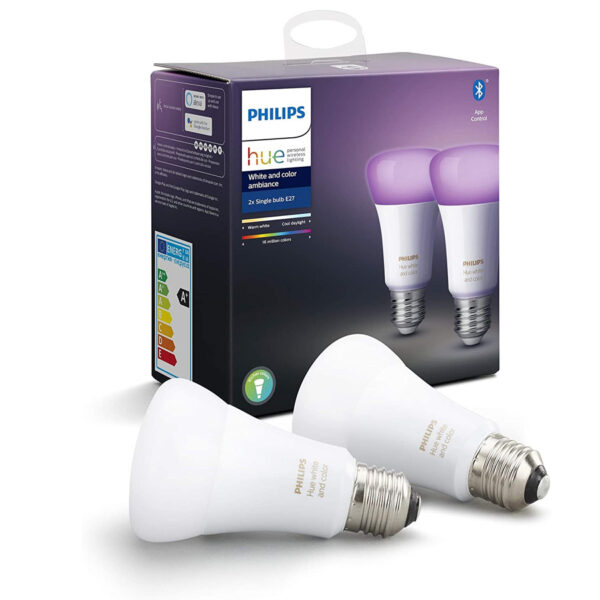 Philips HUE E27 LED 2 bombillas