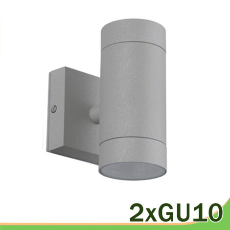 Aplique LED gris 2 luces GU10