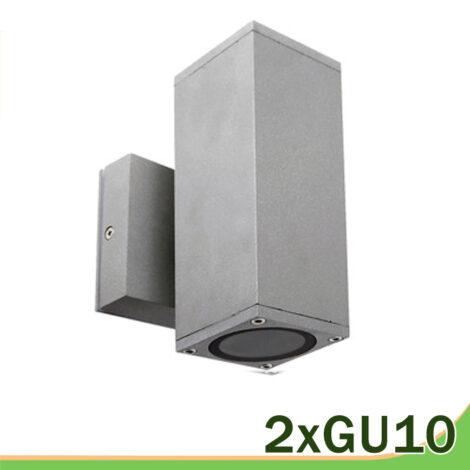 aplique cuadrado gris Casablanca 2 luces GU10