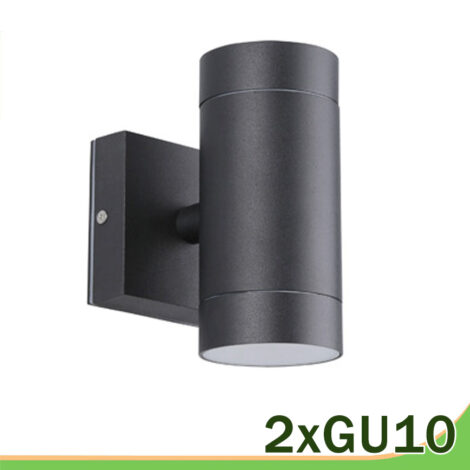 Aplique 2 luces GU10 pared negro
